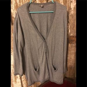 J Jill grey pinstriped lightweight cardigan